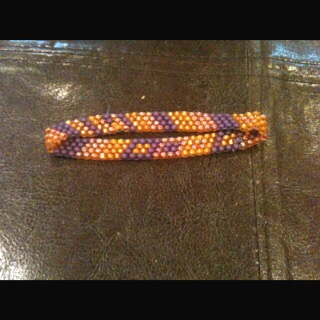 Seed Bead bracelet, peyote stitch, size  14 beads